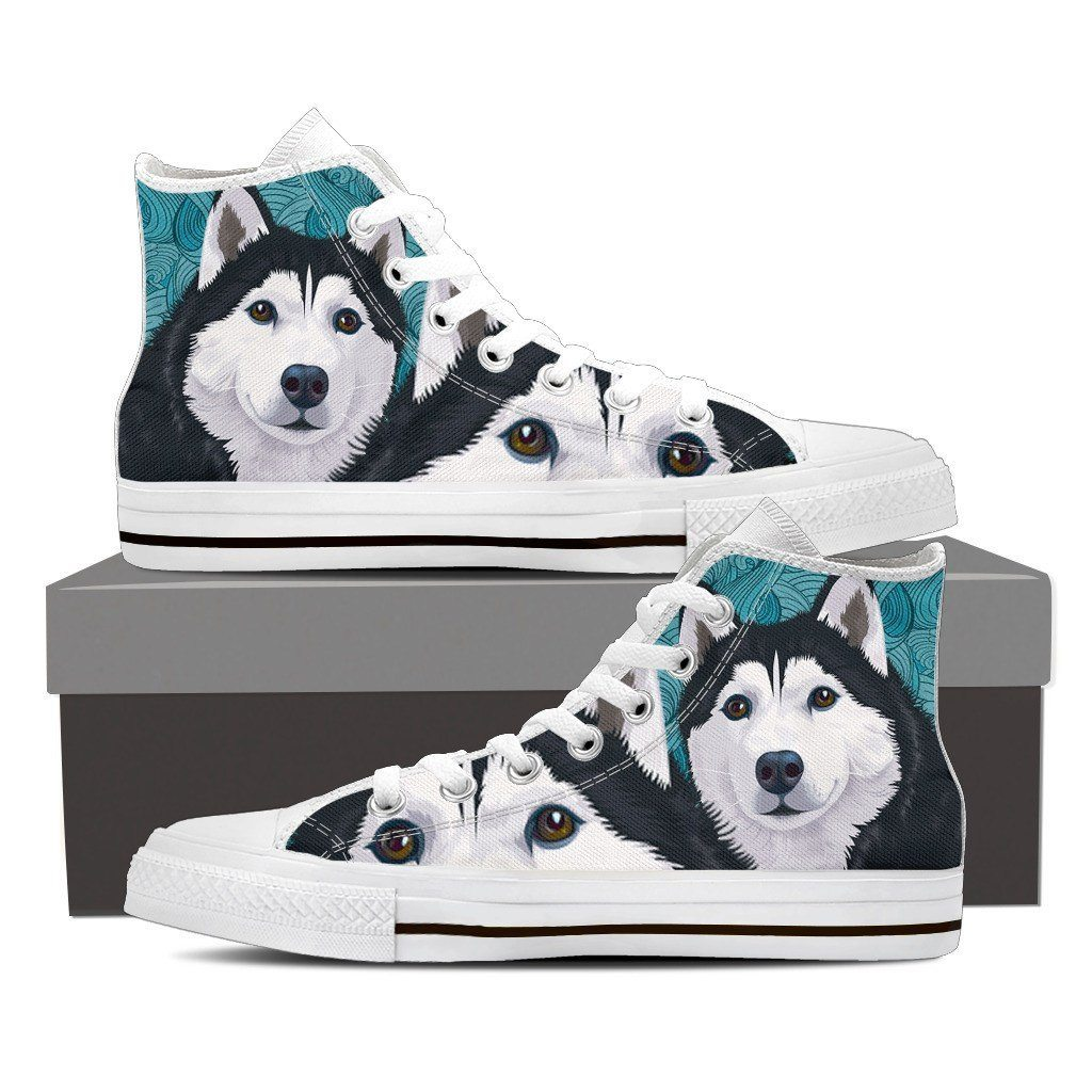Blue Husky Print High Tops Shoes Available in Men's and Women's Sizes