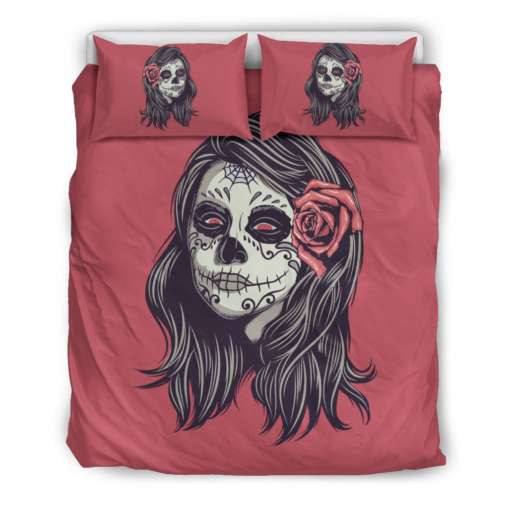 Calavera Sugar Ladies Skull P3 Red-Black Themed Bedding Sets (Includes Duvet Cover, Twin/Queen/King Size Bed Sheet & 2 Pillow Covers)