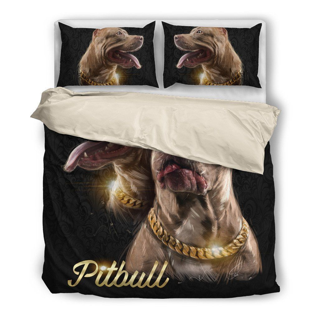 Pitbull Lover 4 Dog Themed Bedding Sets (Includes Duvet Cover, Twin/Queen/King Size Bed Sheet & 2 Pillow Covers)