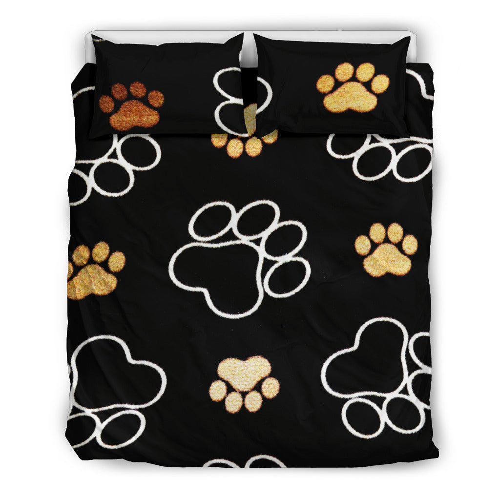 Black Paw Themed Bedding Sets (Includes Duvet Cover, Twin/Queen/King Size Bed Sheet & 2 Pillow Covers)