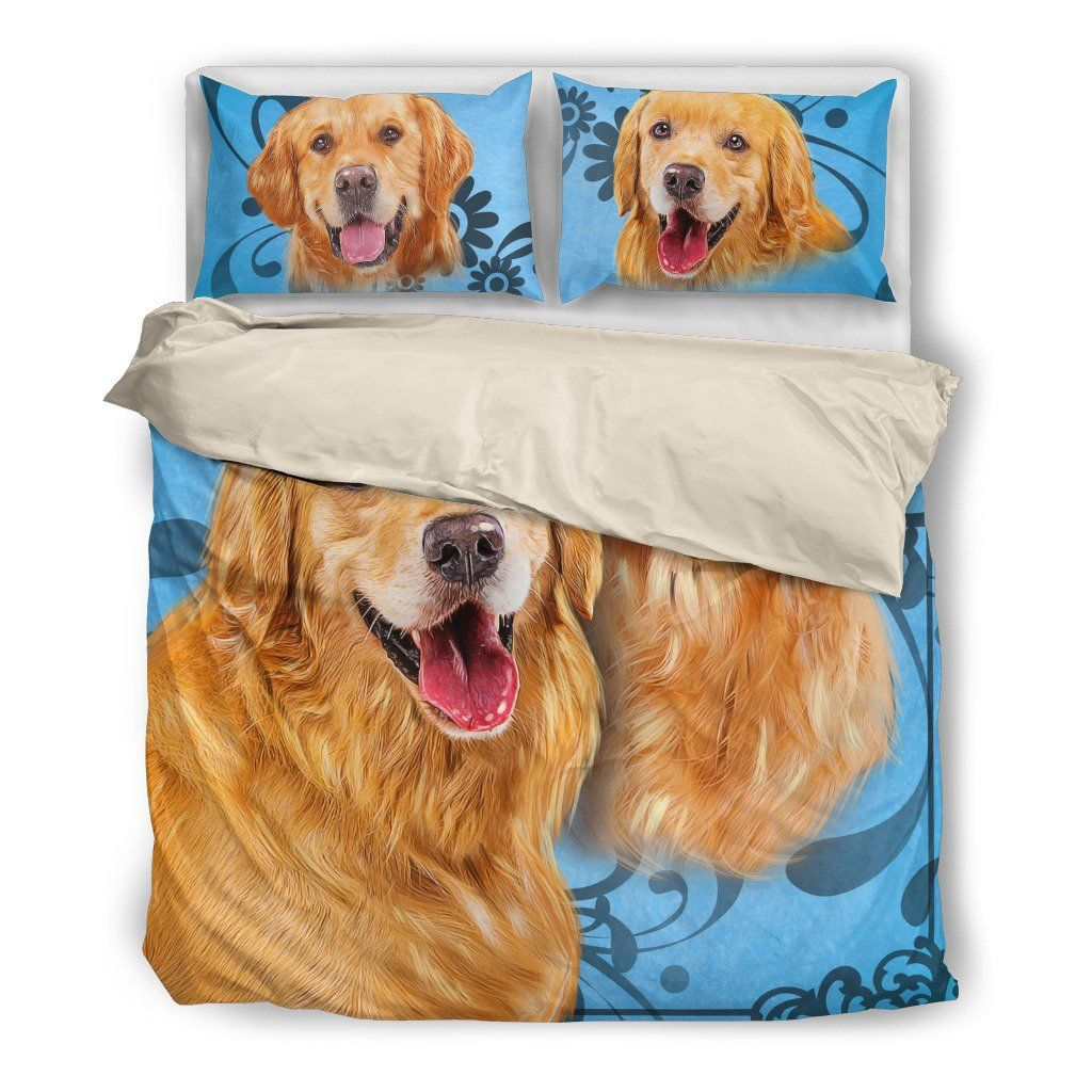 Onlinepresales Golden Retriever 2 Dog Design Bedding Set Hypoallergenic Duvet Cover  Microfiber Twin/Queen/ King Size Bed Sheet with 2 Pillow Covers
