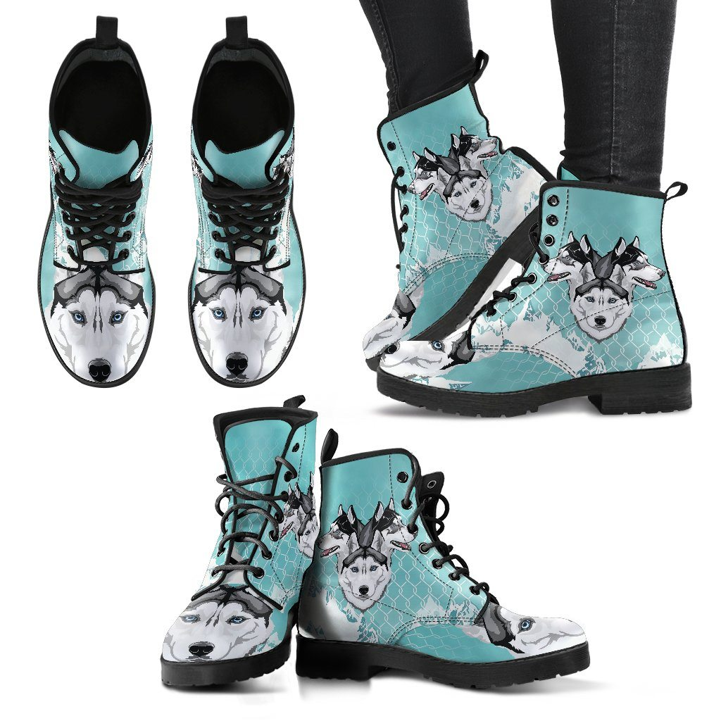 Husky Lover 4 Print Faux Leather Boots