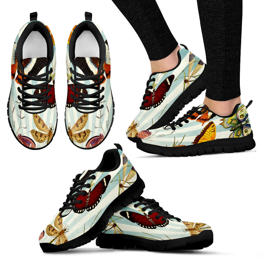 Women's Butterflies Black Sole Print Sneakers