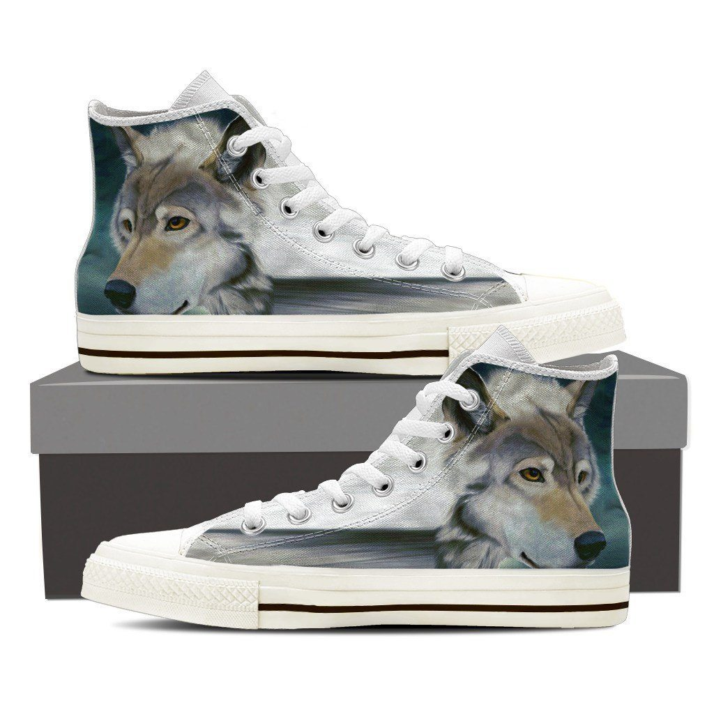 Wolf Print High Tops Shoes Available in Men's and Women's Sizes