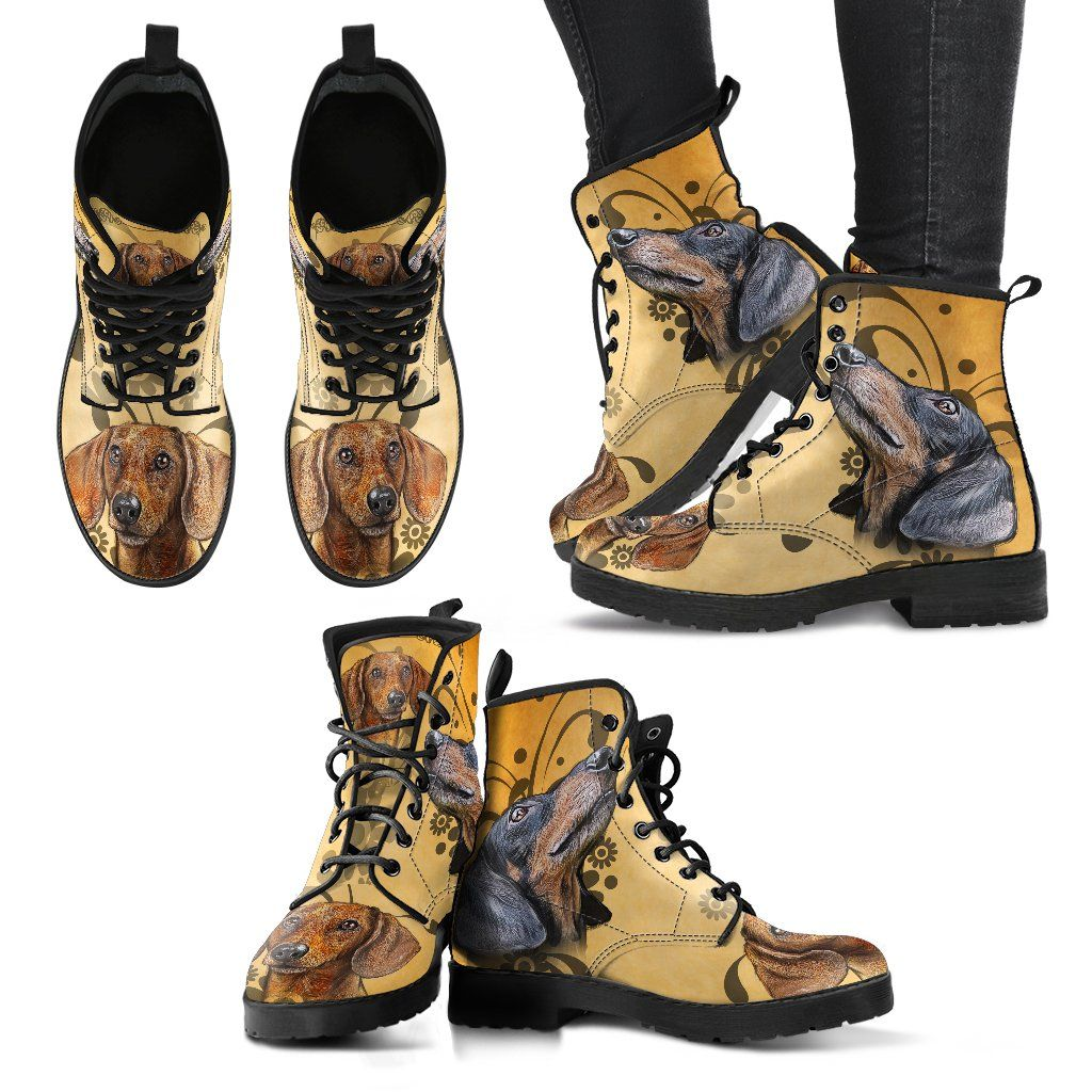 Dachshund 4 Print Faux Leather Boots
