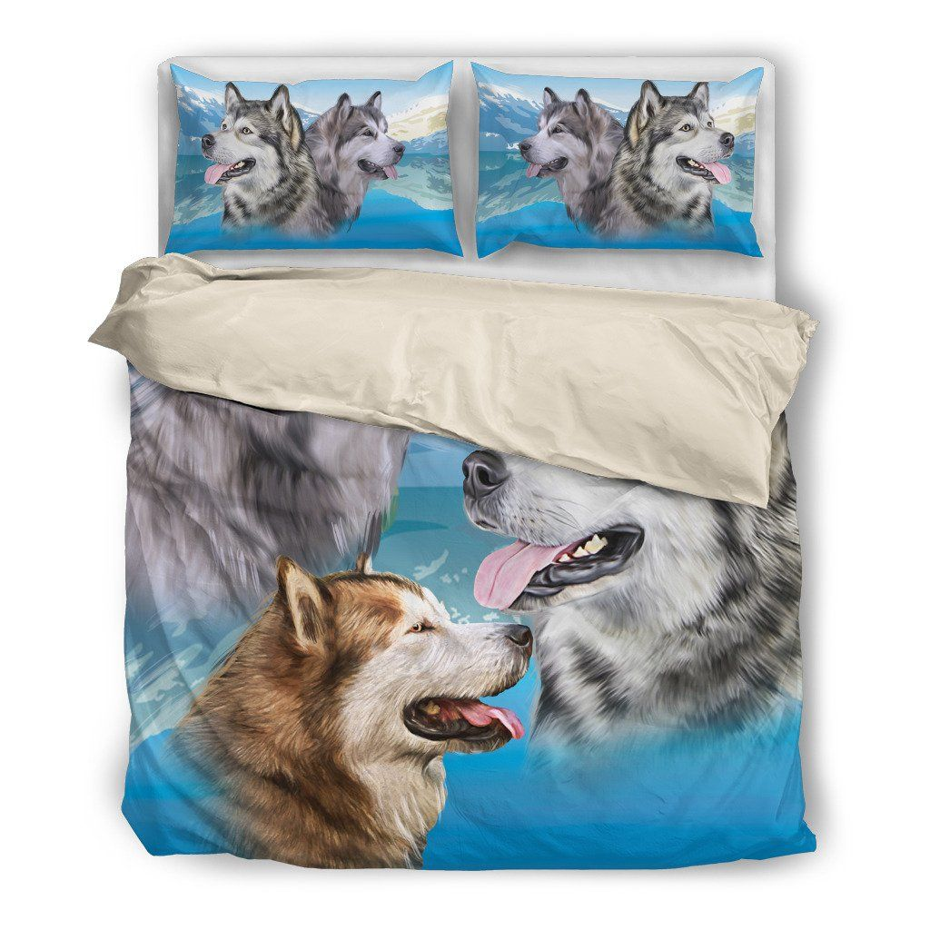 Malamute 2 Dog Themed Bedding Sets (Includes Duvet Cover, Twin/Queen/King Size Bed Sheet & 2 Pillow Covers)