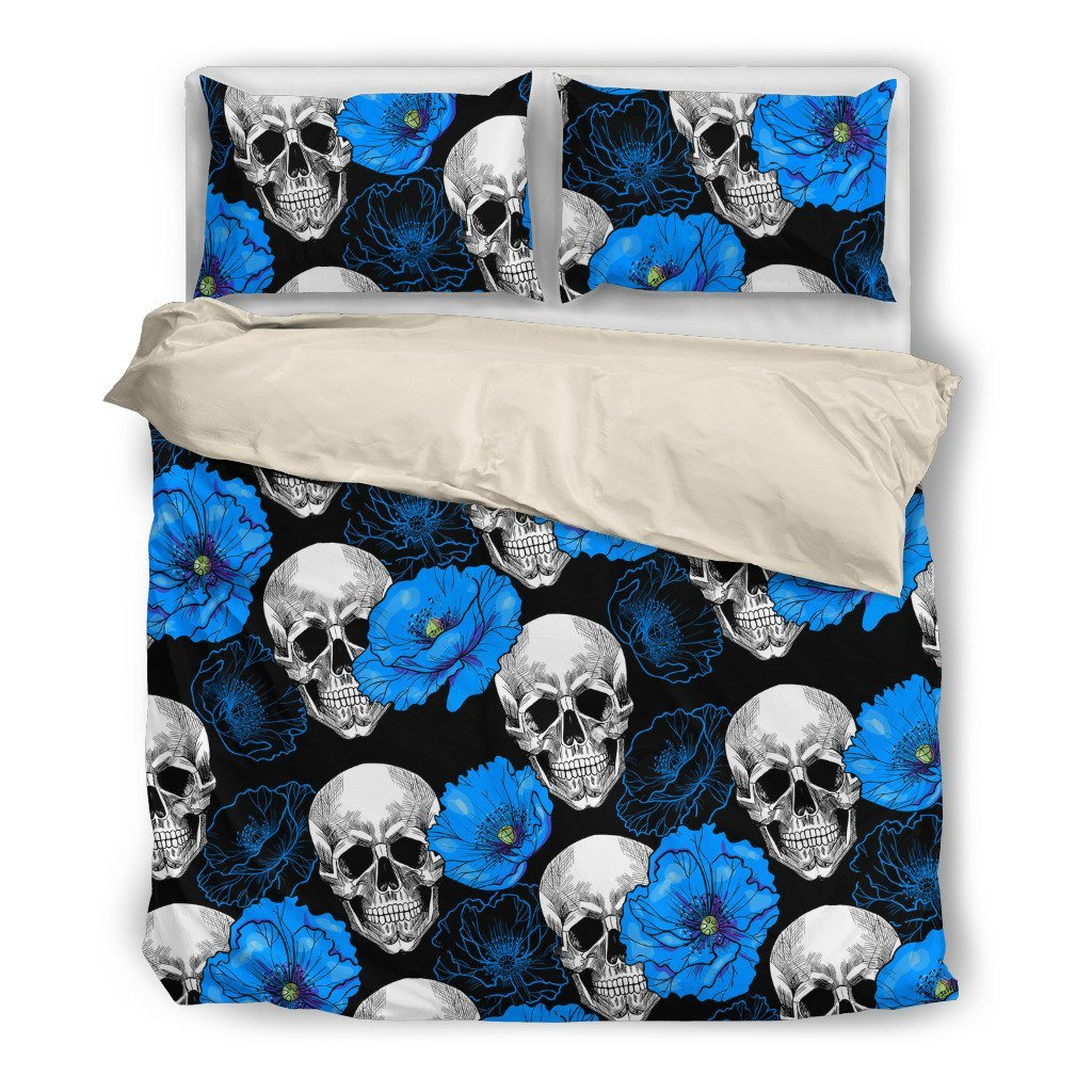 Blue Flower Skull Themed Bedding Sets (Includes Duvet Cover, Twin/Queen/King Size Bed Sheet & 2 Pillow Covers)