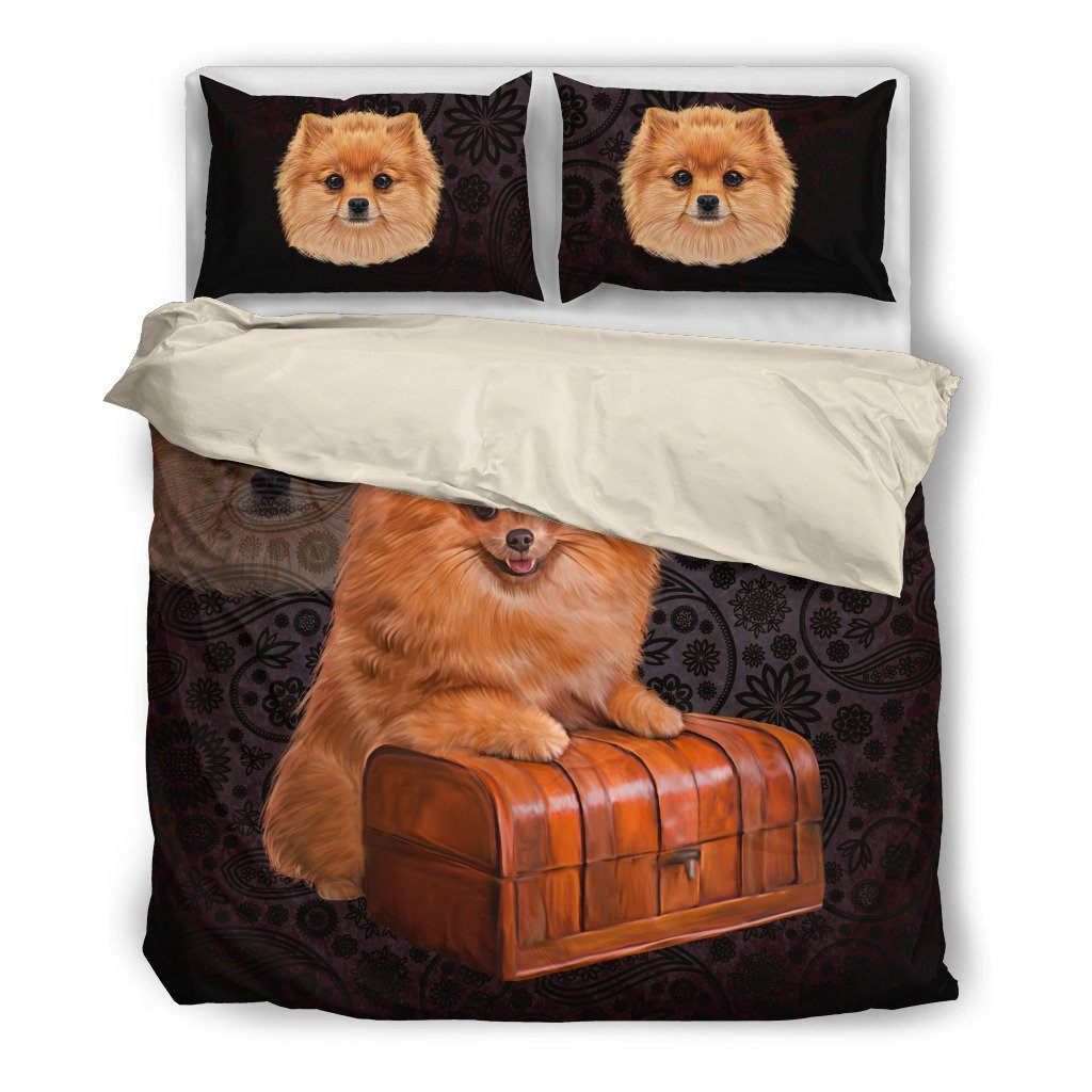 Pomeranian Lover 2 Dog Themed Bedding Sets (Includes Duvet Cover, Twin/Queen/King Size Bed Sheet & 2 Pillow Covers)