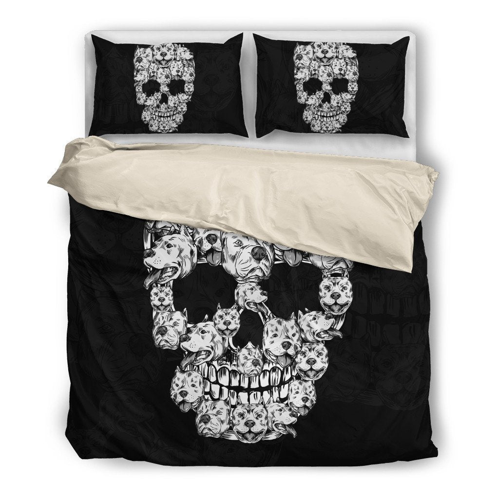 Pitbull Skull Themed Bedding Sets(Includes Duvet Cover, Twin/Queen/King Size Bed Sheet & 2 Pillow Covers)