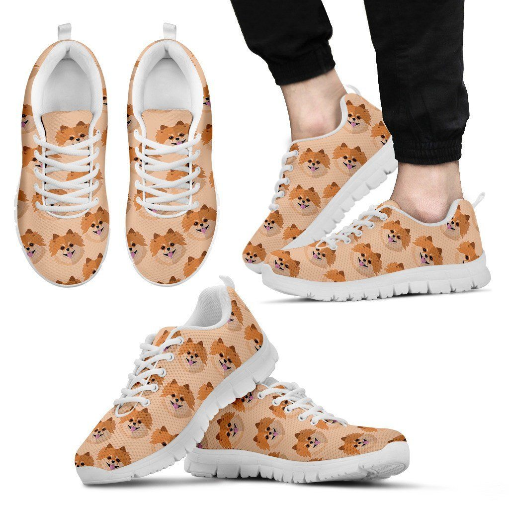 Pomeranian Lover White Sole Print Sneakers Available in Men's, and Women's Sizes