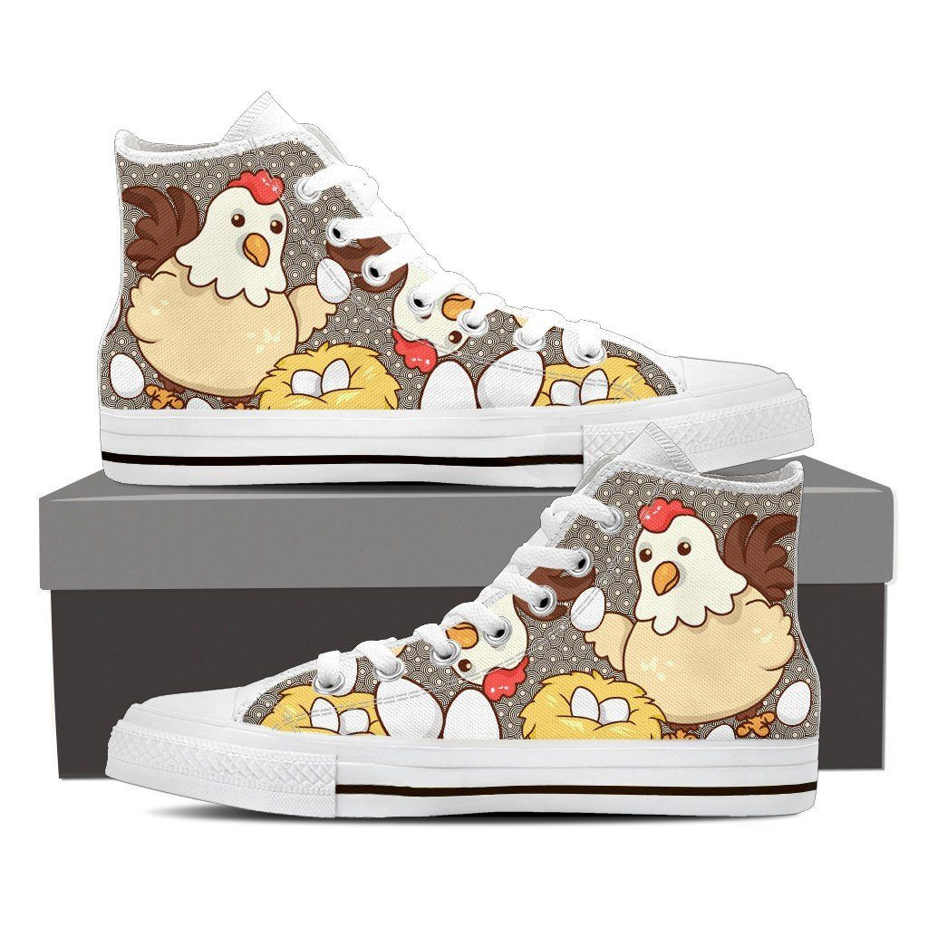 Chicken Eggs Print High Tops Shoes Available in Men's and Women's Sizes