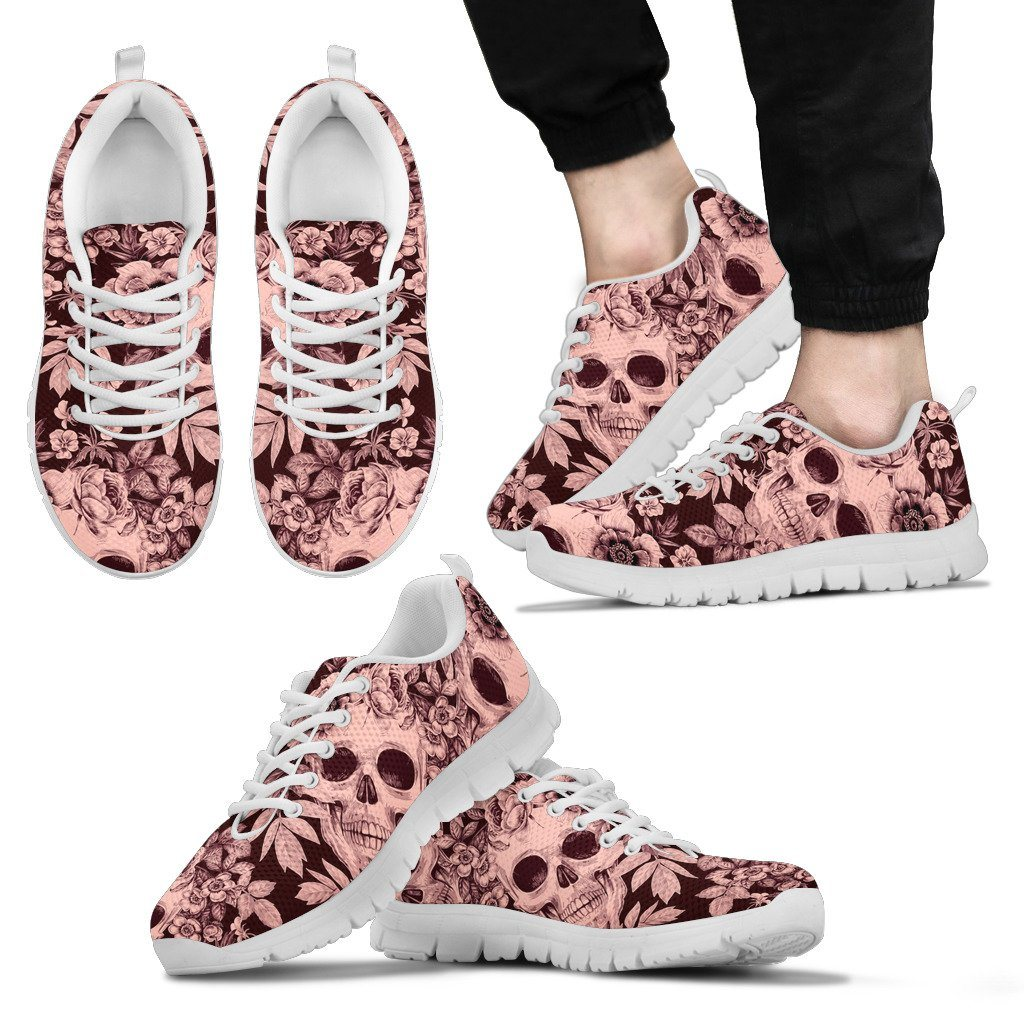 Skull and Flower Print Sneakers Available in Men's, Women's, and Kid's Sizes