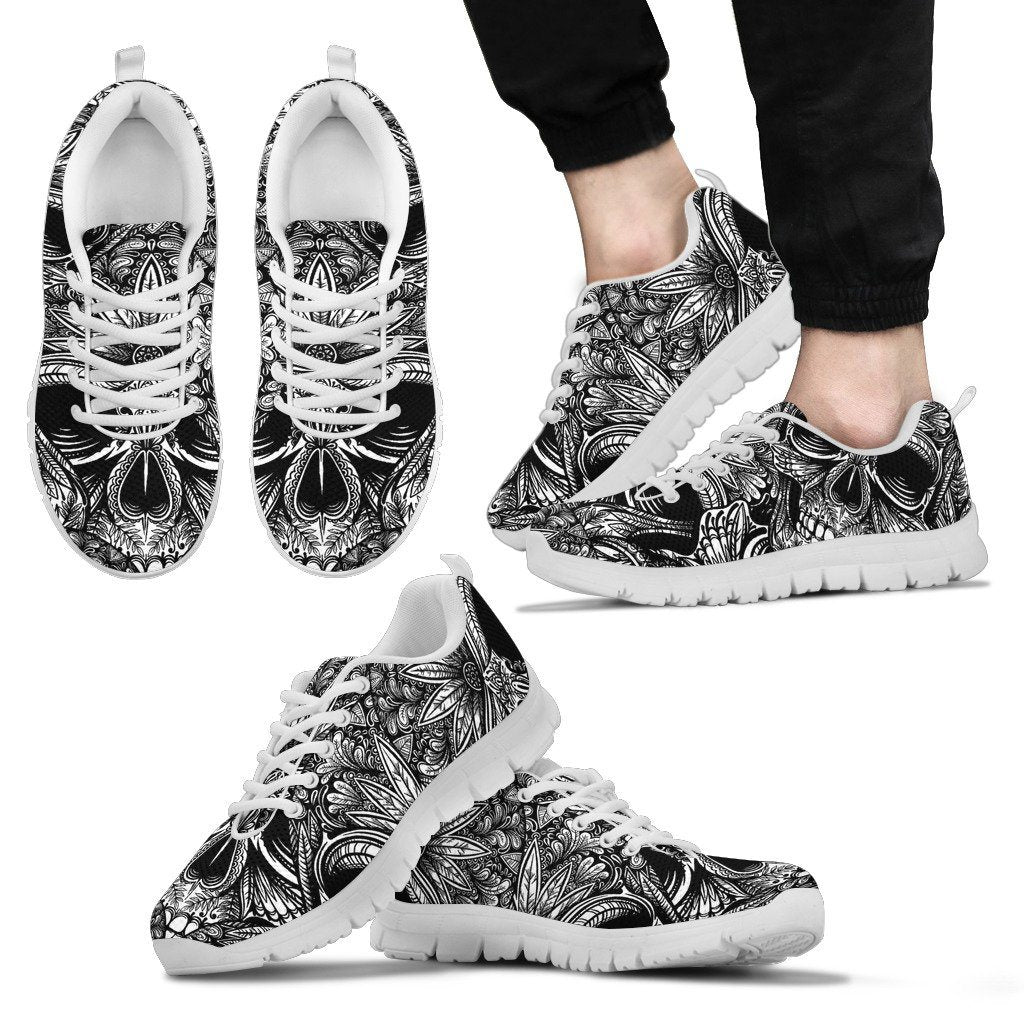 Black and White Skull Sneakers