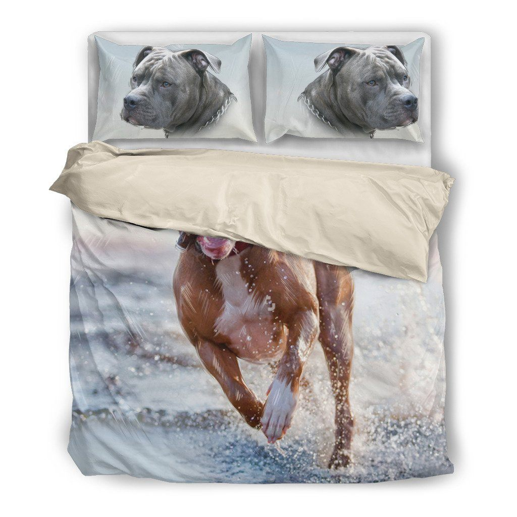 Pitbull 3 Dog Themed Bedding Sets (Includes Duvet Cover, Twin/Queen/King Size Bed Sheet & 2 Pillow Covers)