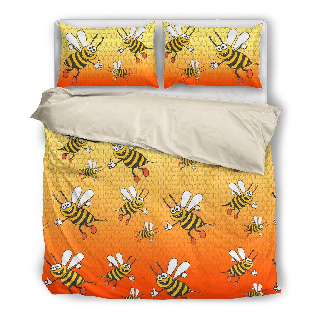 Bee Themed Bedding Sets (Includes Duvet Cover, Twin/Queen/King Size Bed Sheet & 2 Pillow Covers)