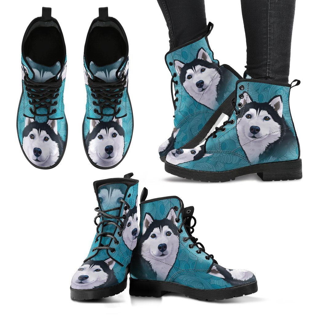 Blue Husky Print Faux Leather Boots