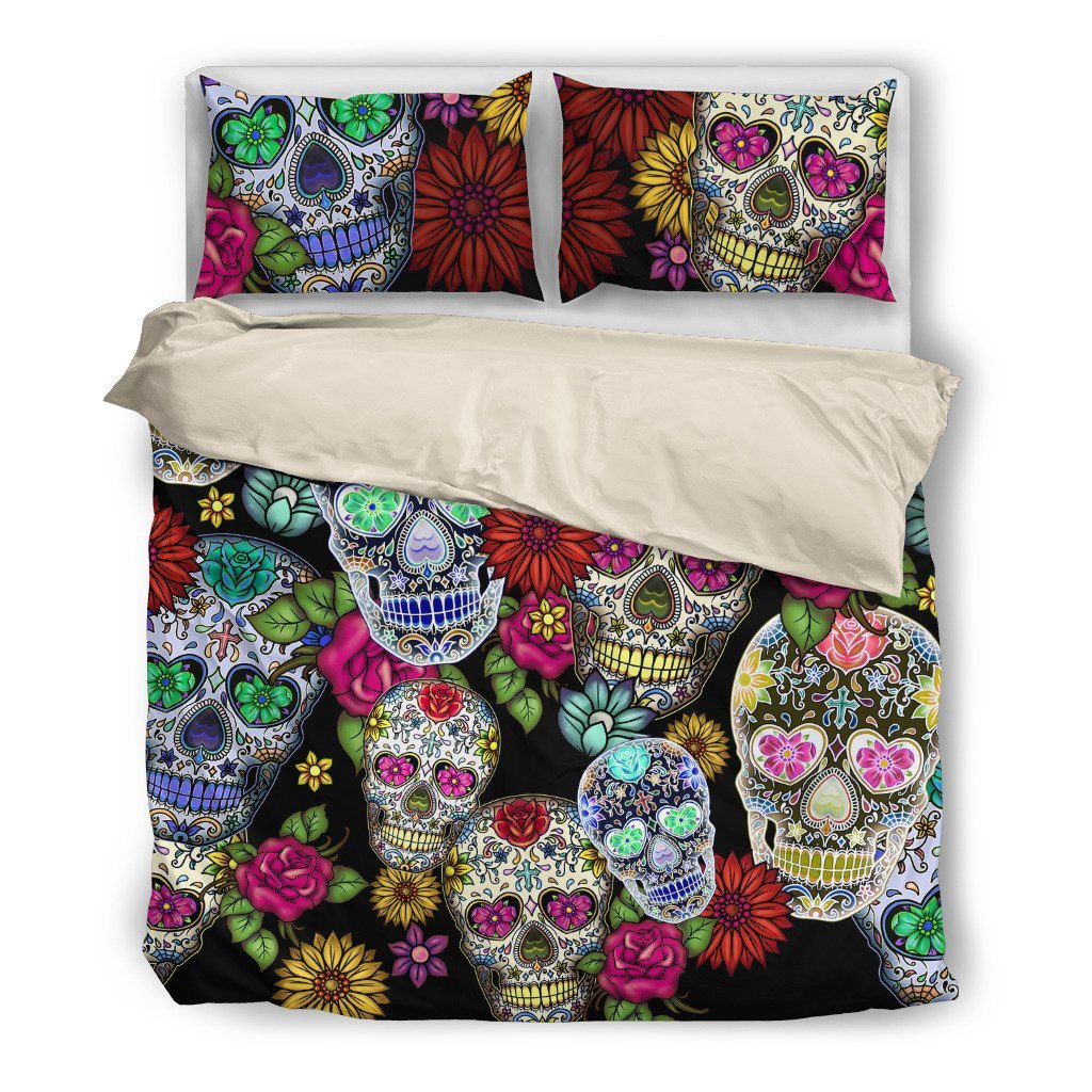 Sugar Skull Black Themed Bedding Sets (Includes Duvet Cover, Twin/Queen/King Size Bed Sheet & 2 Pillow Covers)