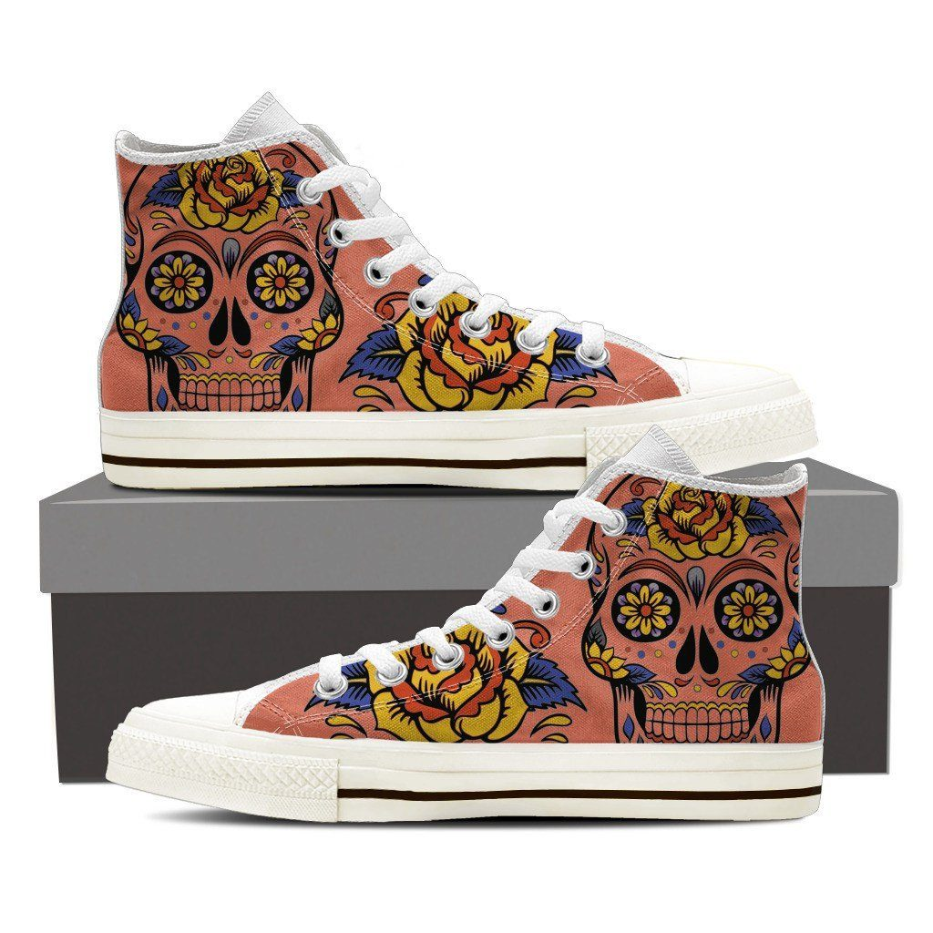 Mexican Skull Men's Black High Top