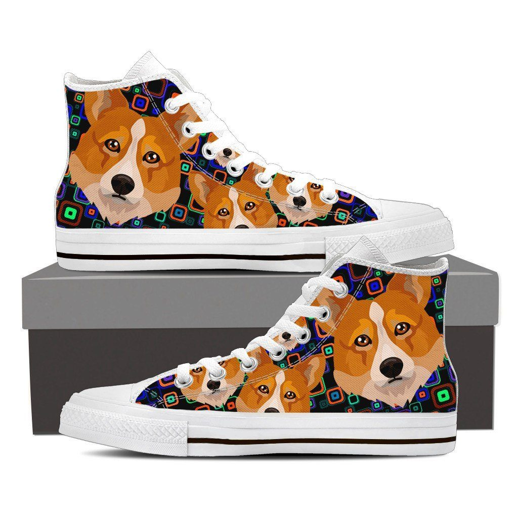 Welsh Corgi Print High Tops Shoes Available in Men's and Women's Sizes