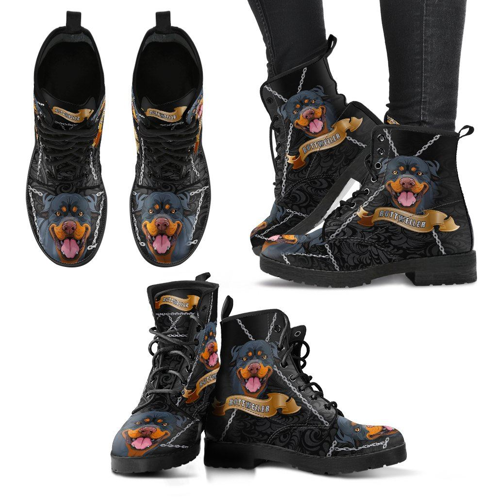 Rottweiler Lover 2 Print Faux Leather Boots
