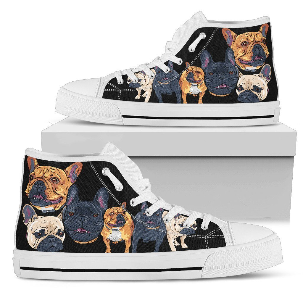 French Bulldog Love Print High Tops Shoes Available in Men's and Women's Sizes
