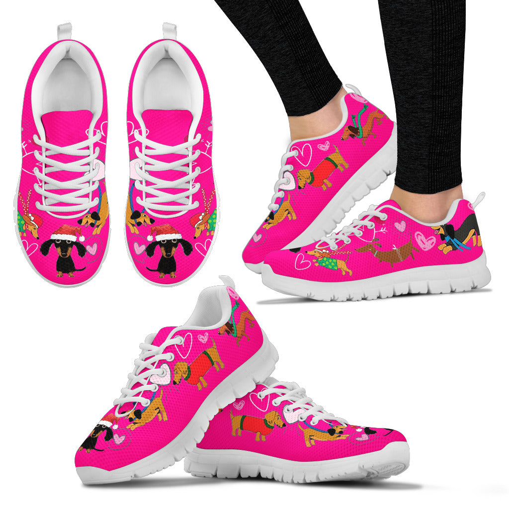 Pink Sneakers With Dachshunds Christmas Theme Sneakers Available in Women's Sizes