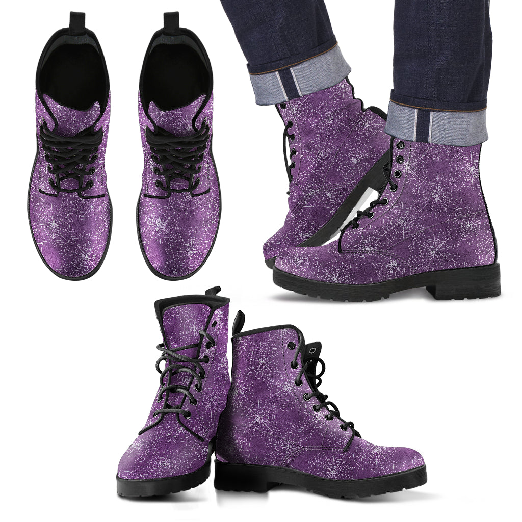 Men's Spider Web Faux Leather Purple Boots