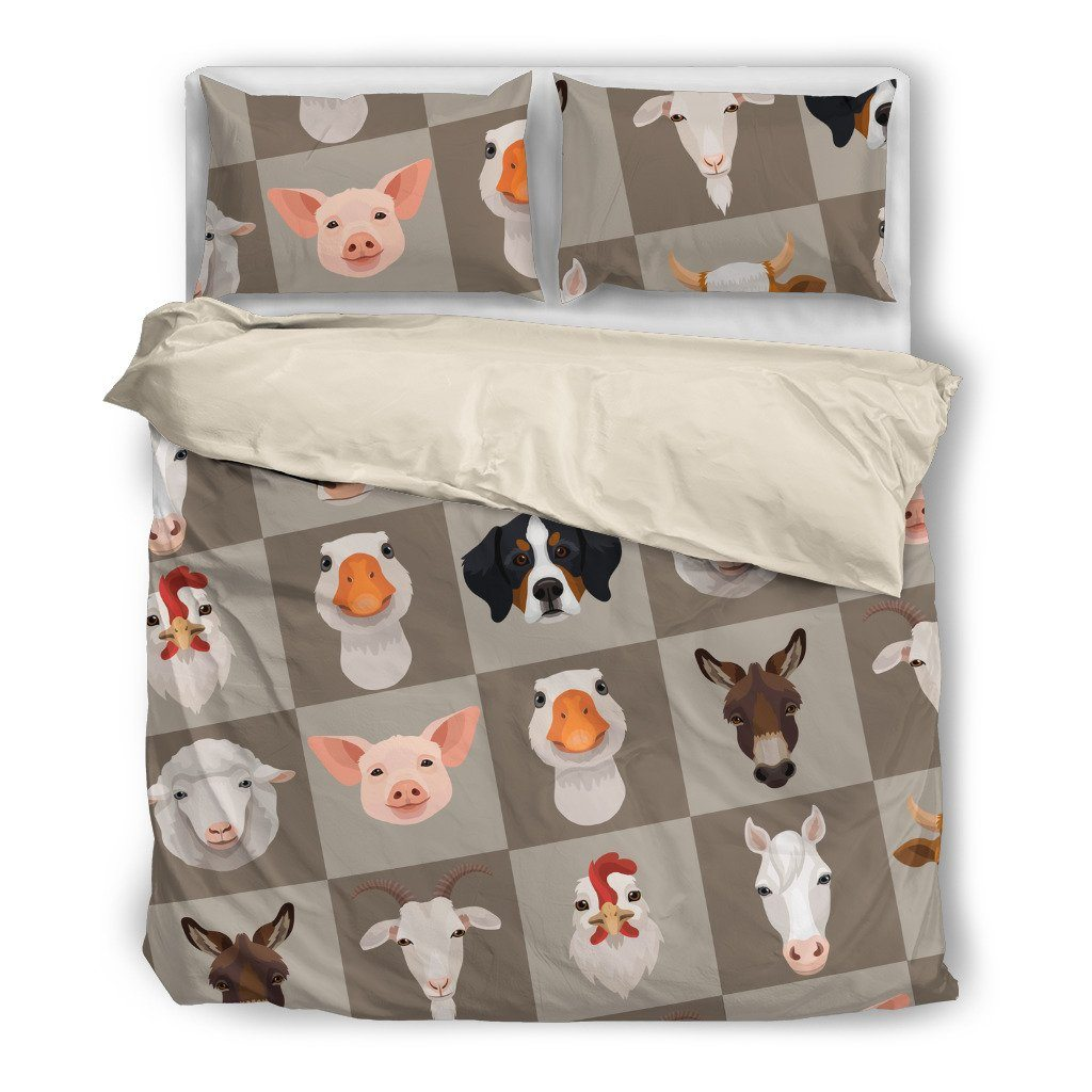 Farm Animals Themed Bedding Sets (Includes Duvet Cover, Twin/Queen/King Size Bed Sheet & 2 Pillow Covers)