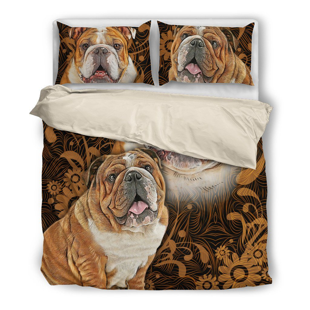 Bulldog 4 Dog Themed Bedding Sets (Includes Duvet Cover, Twin/Queen/King Size Bed Sheet & 2 Pillow Covers)