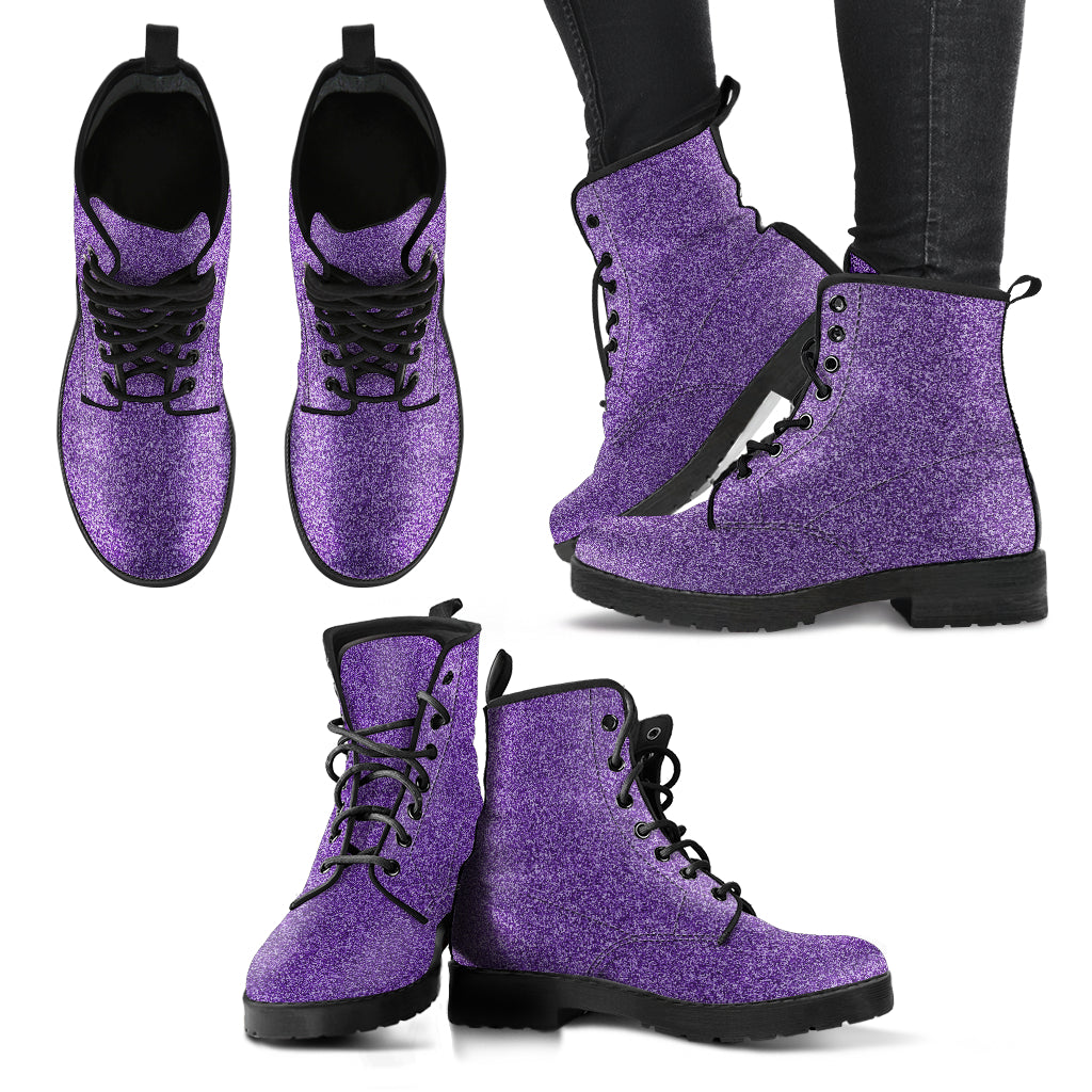 Metallic Effect in Printed Purple - Leather Boots for Women