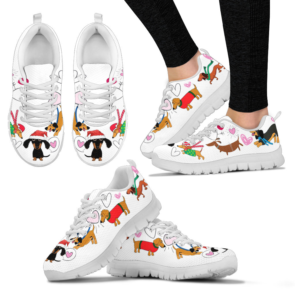 Cute White With Dachsunds Christmas Theme Sneakers Available in Women's Sizes