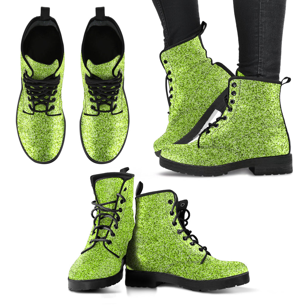 Metallic Effect in Lime - Leather Boots for Women
