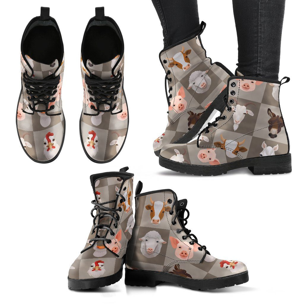 Farm Animals Print Faux Leather Boots