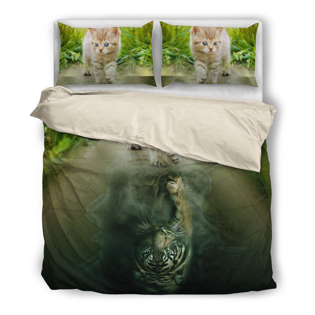Onlinepresales Tiger Cat Design Bedding Set Hypoallergenic Duvet Cover  Microfiber Twin/Queen/ King Size Bed Sheet with 2 Pillow Covers