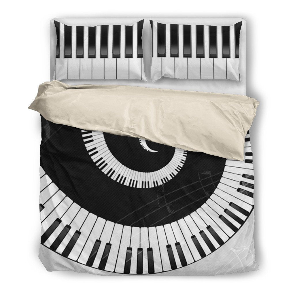 Onlinepresales Piano Music Design Bedding Set Hypoallergenic Duvet Cover  Microfiber Twin/Queen/ King Size Bed Sheet with 2 Pillow Covers