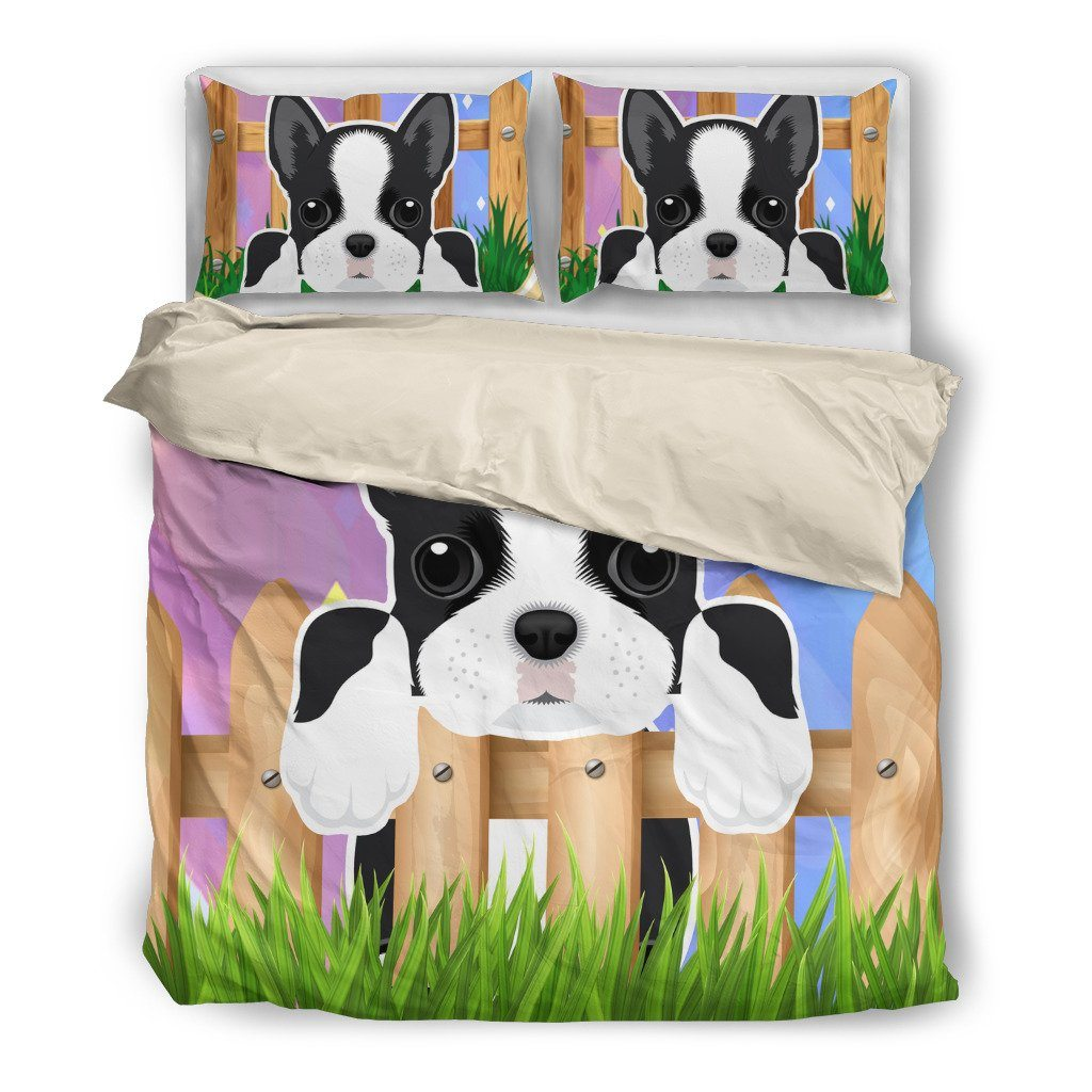 Boston Terrier 2 Dog Themed Bedding Sets (Includes Duvet Cover, Twin/Queen/King Size Bed Sheet & 2 Pillow Covers)