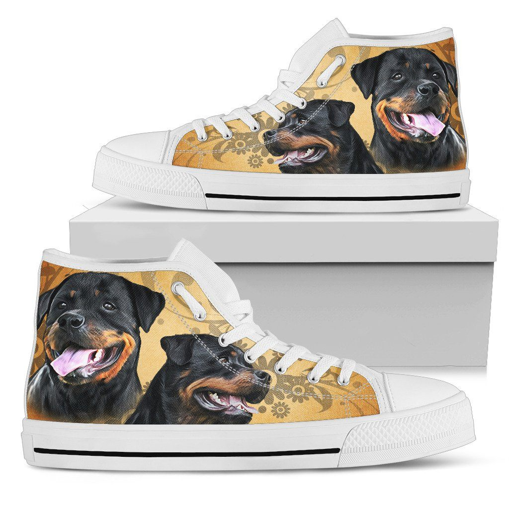 I Love Rottweiler Print High Tops Shoes Available in Men's and Women's Sizes