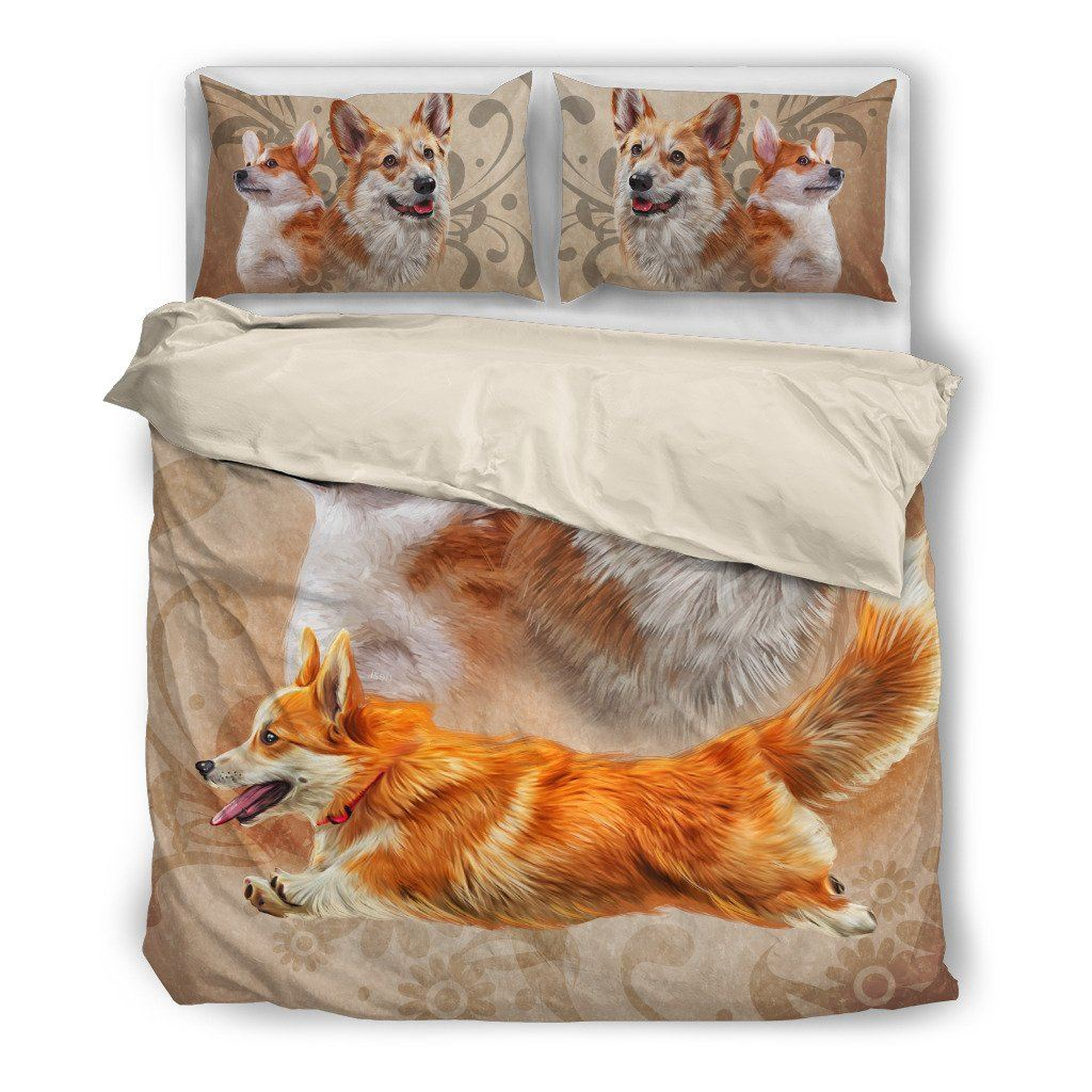 Welsh Corgi 2 Dog Themed Bedding Sets (Includes Duvet Cover, Twin/Queen/King Size Bed Sheet & 2 Pillow Covers)