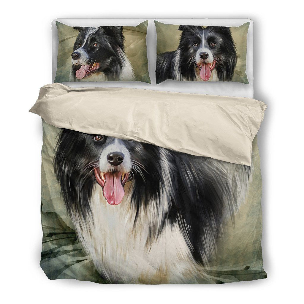 Border Collie Dog Themed Bedding Sets (Includes Duvet Cover, Twin/Queen/King Size Bed Sheet & 2 Pillow Covers)