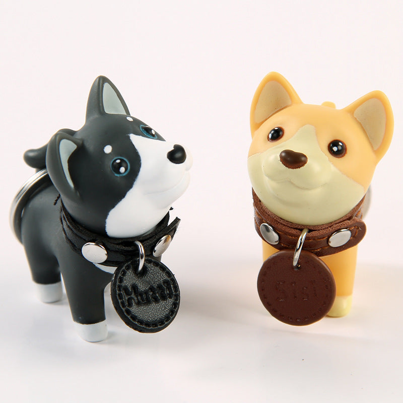 PVC Hand-painted Dog Figure Keychain