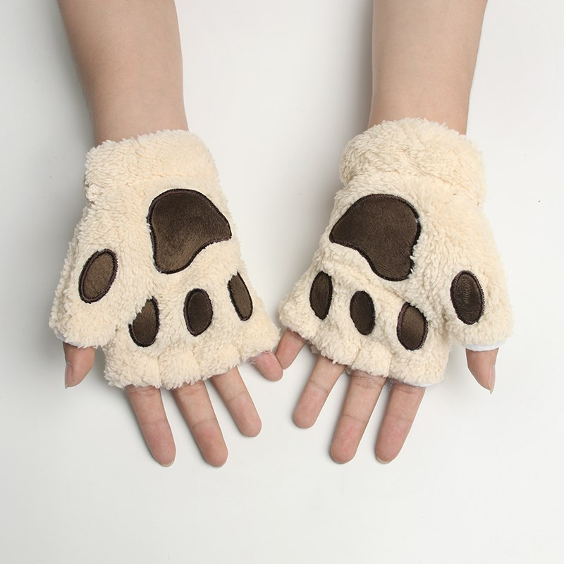 Lovely Bear Cat Claw  Plush Gloves