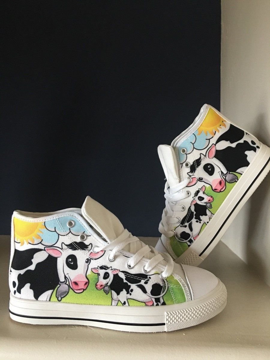 Women's Cow Lover Print White High Tops Shoes