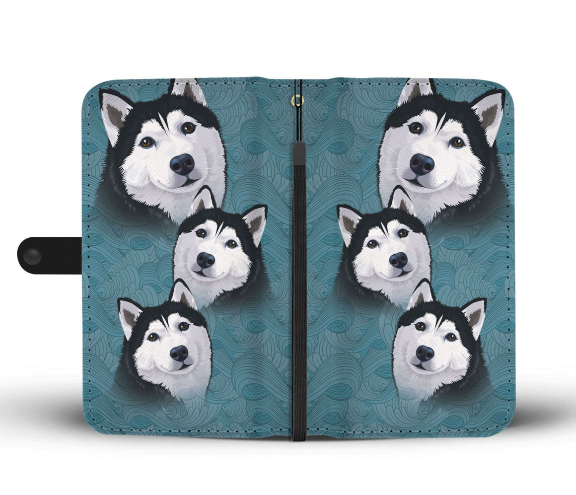 Hand Crafted Blue Husky Wallet Case
