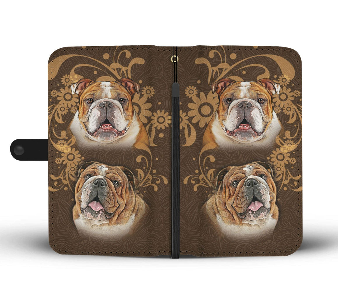 Hand Crafted Bulldog Love Wallet Case