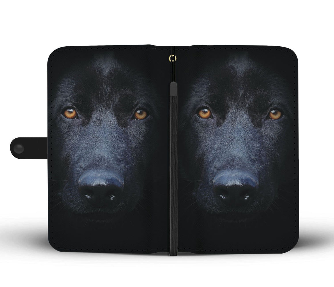 Hand Crafted Black German Shepherd Wallet Case