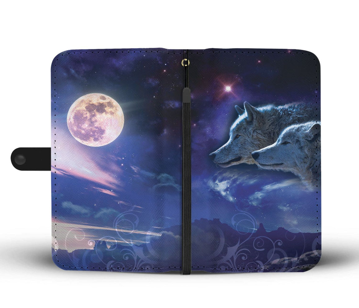 Hand Crafted Wolf and Moon Wallet Case