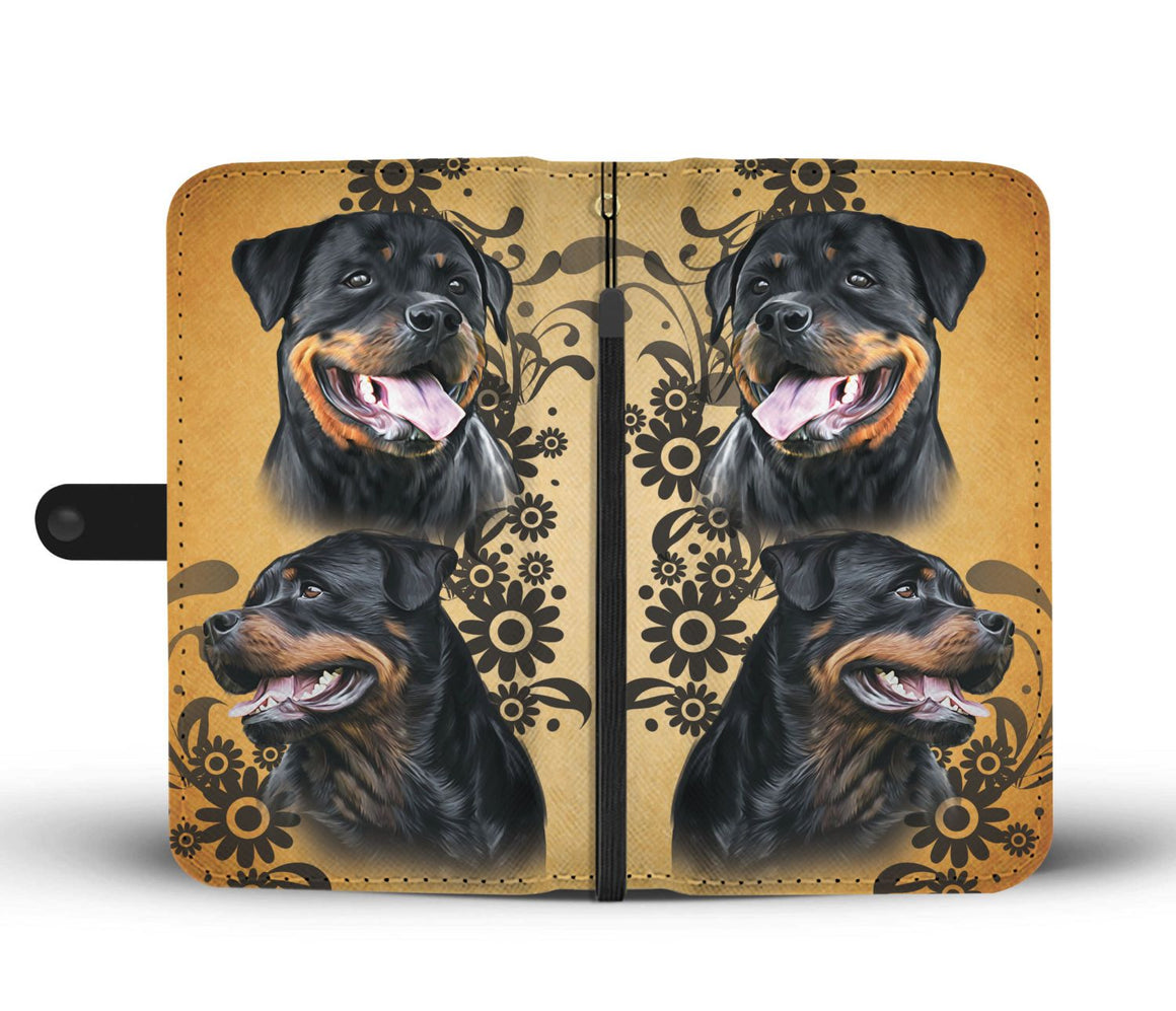 Hand Crafted I Love Rottweiler Wallet Case