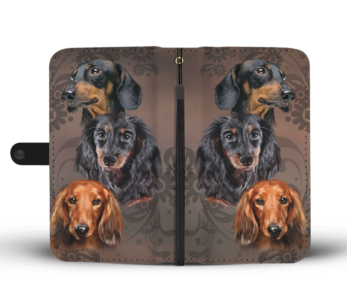 Hand Crafted I Love Dachshund Wallet Case