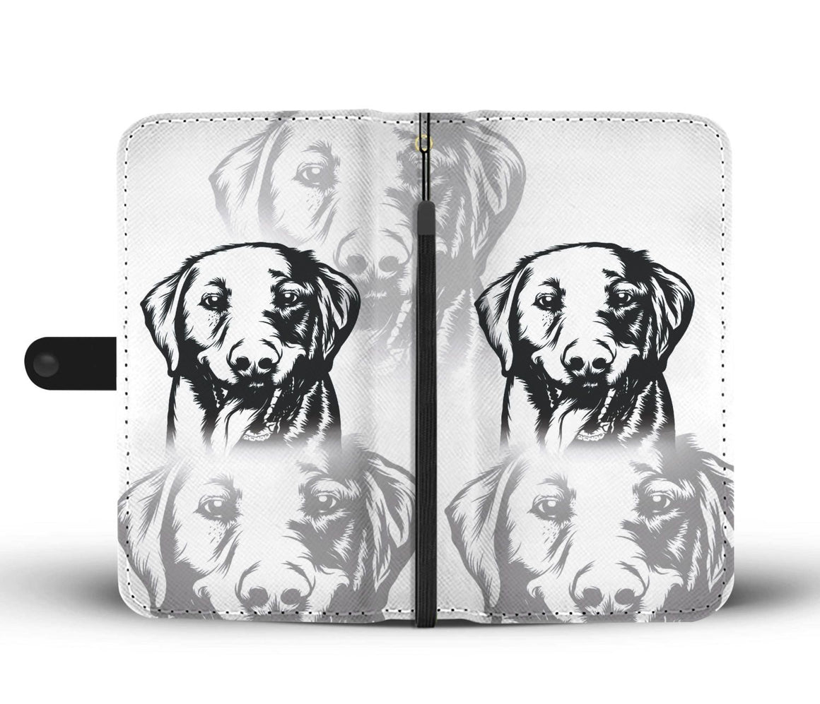 Hand Crafted Black and White Dog Wallet Case
