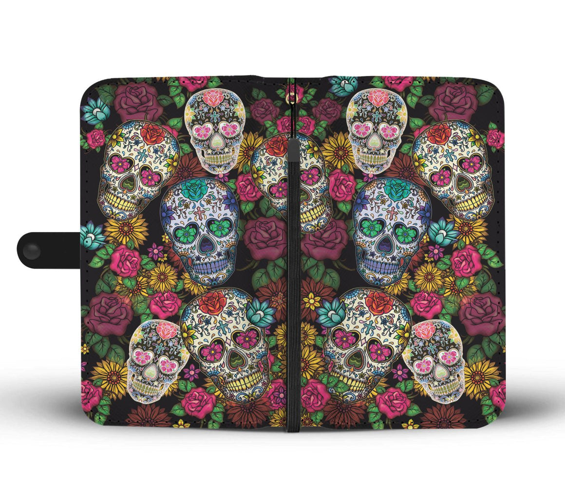Hand Crafted Sugar Skull Wallet Case